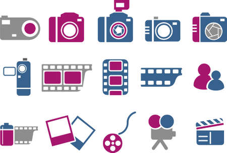 Vector icons pack - Blue-Fuchsia Series, photo collection