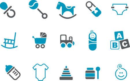 Photo pour Vector icons pack - Blue Series, babies collection - image libre de droit