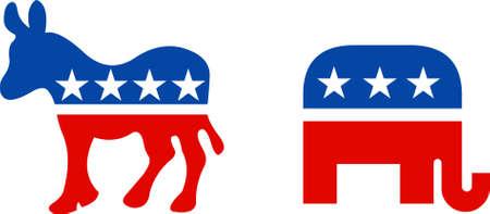 Political symbol of republican elephant and democratic donkey