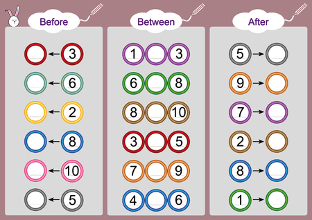 Illustration pour What comes Before-Between and After, math worksheets for kids - image libre de droit