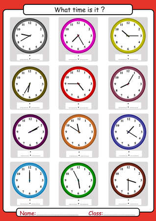 Illustration pour What time is it, What is the time, draw the time, Learning to Tell Time, math worksheet - image libre de droit