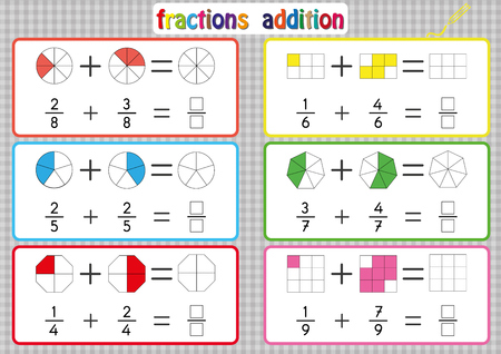 Illustration pour Fractions Addition, Printable Fractions Worksheets for kids , fraction addition problems. Add two fractions and write the answer in the box. - image libre de droit