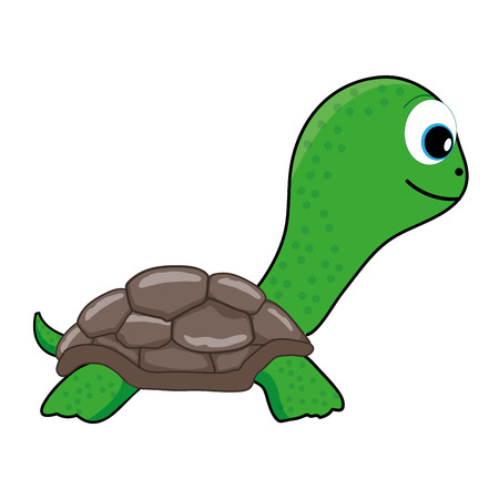 Cute Green Turtle vector illustrationのイラスト素材