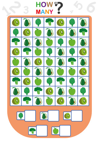 Illustration pour worksheet for kids, Count the number of objects, Learn the numbers, how many objects, Counting children game - image libre de droit