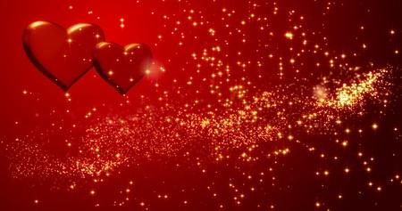 Photo pour Red hearts. Happy Valentines day background. 3D rendering. - image libre de droit