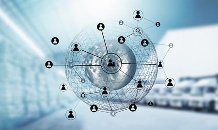 Photo pour Network social technologies ,Mixed media. - image libre de droit