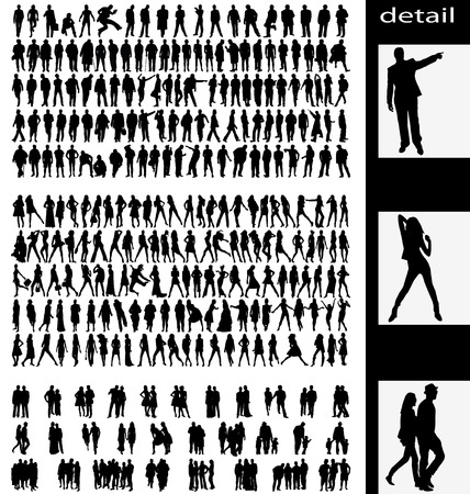 man,woman,groups and couples silhouettes