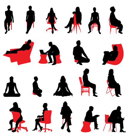 people silhouettes sitting