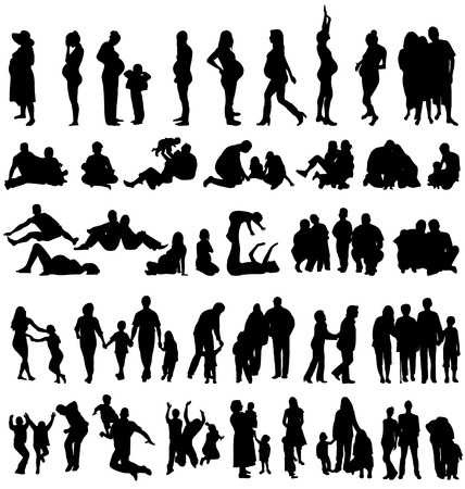 family silhouettes collectionのイラスト素材