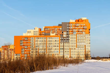 Photo pour New modern residential complex built on the outskirts. Moscow, Russia - image libre de droit