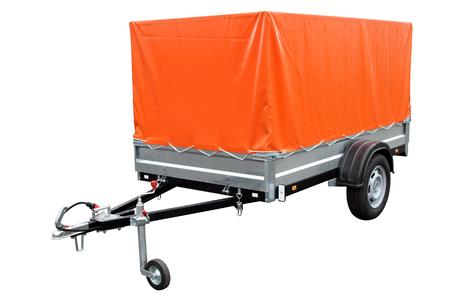 Foto de Orange car trailer, isolated on white background - Imagen libre de derechos