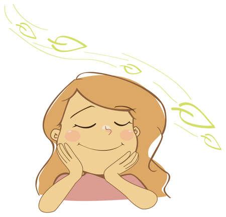 Natural girl breathing fresh air