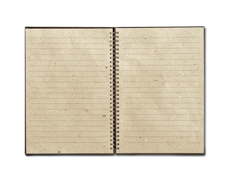 isolated recycled paper open notebook on white