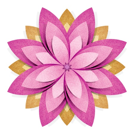 Photo pour Flower origami recycled paper craft stick on white background - image libre de droit