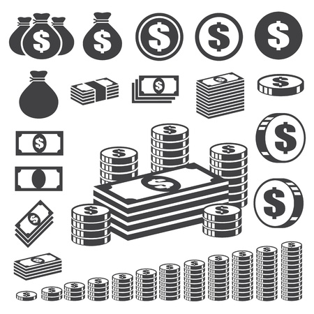 Money and coin icon set.