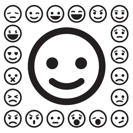 Illustration for Smiley faces icons set. - Royalty Free Image