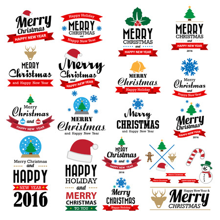 Merry Christmas and Happy New Year typographic background,Illustration