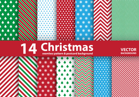 Illustration pour Set of Christmas patterns and seamless background.Illustration - image libre de droit