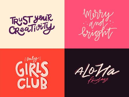 Illustration pour Set of inspirational quotes. Lettering design in different styles. Doodle trendy illustration with motivational phrases. - image libre de droit