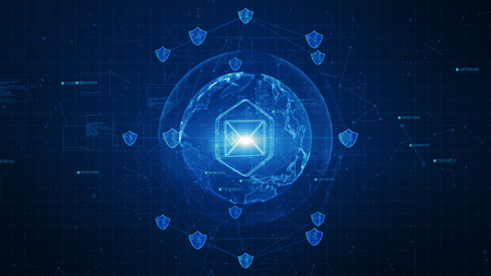 Photo pour Shield and email icon on secure global network , Cyber security concept - image libre de droit