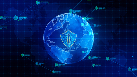 Photo pour Shield icon on secure global network, Technology network and cyber security concept. Protection for worldwide connections. - image libre de droit