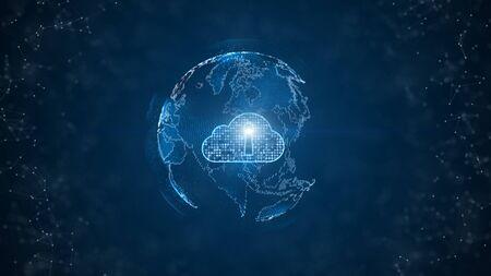 Photo pour Secure Data Network Digital Cloud Computing Cyber Security Concept. Earth Element - image libre de droit