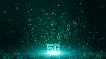Foto de 5G connectivity of digital data and conceptual futuristic information technology using artificial intelligence AI - Imagen libre de derechos