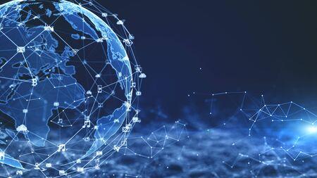 Photo pour Technology Network Data Connection, Digital Network and Cyber Security Concept. - image libre de droit