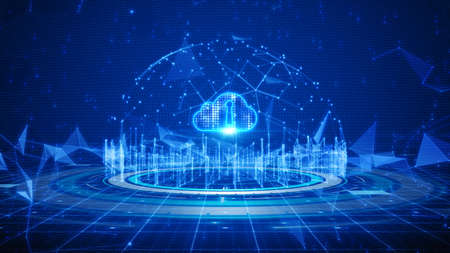 Photo pour Hi-tech Shield of cyber security. Digital data network protection. High-speed connection data analysis. Technology data binary code network conveying. Future technology digital background concept. - image libre de droit
