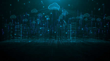 Foto de Smart city of cloud computing using artificial intelligence. Futuristic technology internet and big data 5g connection. Cybersecurity digital data background - Imagen libre de derechos
