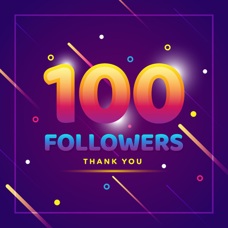 Illustration pour 100 followers thank you colorful background and glitters. Illustration for Social Network friends, followers, Web user Thank you celebrate of subscribers or followers and likes - image libre de droit