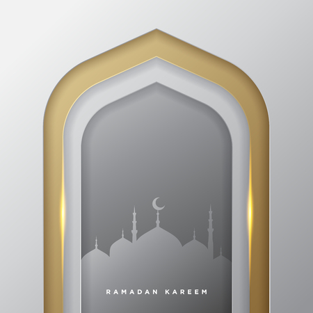 Illustration pour Islamic mosque door for ramadan kareem vector greeting banner background with art paper cut style, golden silver and mosque scenery. Creative design card, poster. Traditional Islamic holiday - image libre de droit
