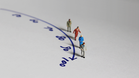 Photo for Miniature people and the concept of an aging society. - Royalty Free Image