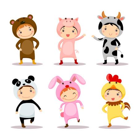 Cute kids wearing animal costumes