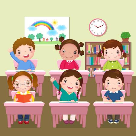 Illustration pour Illustration of school kids studying in classroom - image libre de droit