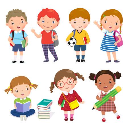 Illustration pour Back to school. Set of school kids in education concept. - image libre de droit