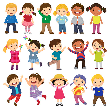 Illustration pour Happy kids cartoon collection. Multicultural children in different positions isolated on white background - image libre de droit
