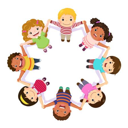 Illustration pour Children holding hands in a circle - image libre de droit