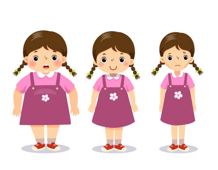 Illustration for illustration cute cartoon fat girl, average girl, and skinny girl. Girl with different weight. - Royalty Free Image