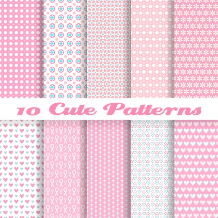 Ilustración de 10 Cute different vector seamless patterns (tiling). Pink color. Endless texture can be used for sweet romantic wallpaper, pattern fills, web page background, surface textures. Heart and dot shape. - Imagen libre de derechos