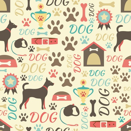 Retro seamless vector pattern of dog icons. Endless texture can be used for printing oRnto fabric, web page background and paper or invitation. Doggy style. Retro colors.