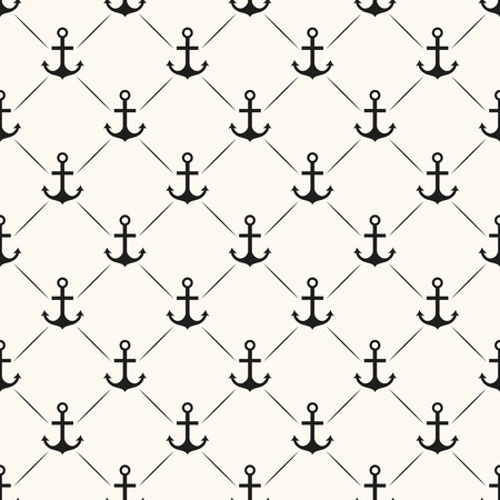 Seamless vector pattern of anchor shape and line. Endless texture for printing onto fabric