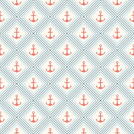 Seamless vector pattern of anchor shape and line  Endless texture for printing onto fabric