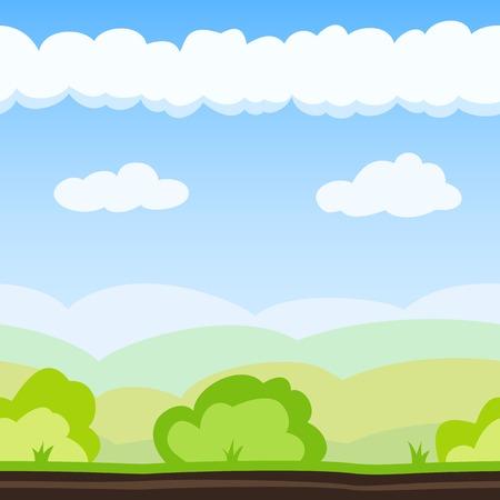 Illustration pour Nature background with hill, bush and cloud. Vector illustration for landscape design. Seamless tileable game background. - image libre de droit