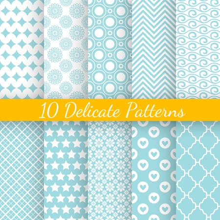 10 Vintage different vector seamless patterns. Endless texture for wallpaper, fill, web page background, surface texture. Set of monochrome geometric ornament. Blue and white shabby pastel colors.
