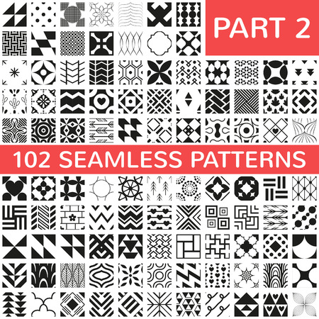 Ilustración de 102 Universal different vector seamless patterns. Endless texture can be used for wallpaper, pattern fills, web page background,surface textures. Set of monochrome geometric ornaments. - Imagen libre de derechos