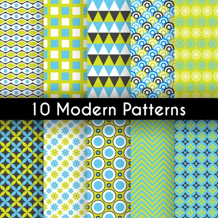 Ilustración de 10 Different modern vector seamless patterns. Texture can be used for printing onto fabric and paper or scrap booking. Abstract geometric shapes. - Imagen libre de derechos