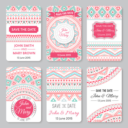 Set of perfect wedding templates with doodles tribal theme. Ideal for Save The Date, baby shower, mothers day, valentines day, birthday cards, invitations. Vector illustration for pretty design.