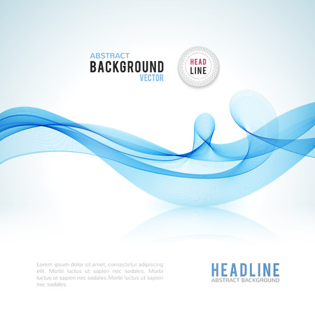 Illustration pour Abstract blue wave isolated on white background. Vector illustration for modern business design. Futuristic wallpaper. Cool element for presentation, card, flyer and brochure. - image libre de droit