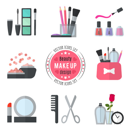 Illustration pour Make up flat icons. Vector illustration for cosmetic design. Beauty style isolated on white background. Make-up artist objects. Makeup accessories for pretty woman. Bright colors. - image libre de droit